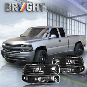 For 99 02 Chevy Silverado 00 06 Suburban Black Bumper Headlights lamp Clear Side