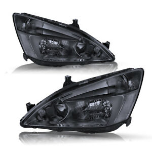 For 03 07 Honda Accord Smoke Housing Clear Corner Headlight Replacement Lamps