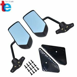 Pair Universal F1 Style Car Racing Rearview Side Wing Mirrors Convex Glass Black