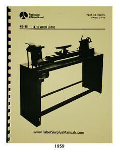 Rockwell 14 11 Wood Lathe 46 150 Others Instruction Parts List Manual 1959