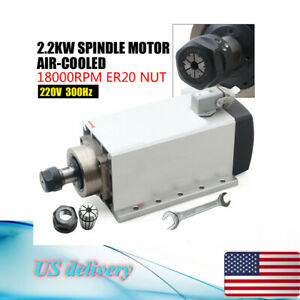 2 2kw Cnc Air cooled Square 80mm Spindle Motor Er20 Collet 18000rpm Drilling Us