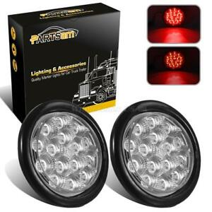2xclear red 15led 4 Round Truck Trailer Brake Stop Turn Tail Lights W reflector