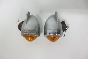 Vintage Winged Fender Lights Lamps Truck Cab Motorcycle Amber Pair Accessory