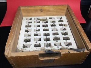 Kingsley Machine Type Set Century Block Used Foil Hot Stamp Brass Letters W box