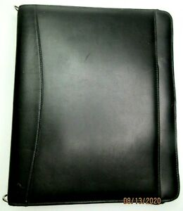 Franklin Covey Legacy Black Full Grain Leather Zip Close Planner Binder Lrg Nwt