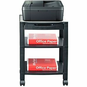 3 shelf Printer Cart Stand With Wheels Drawer Cord Management Black Home