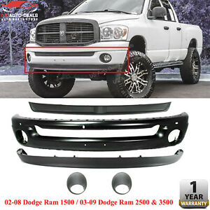 Front Bumper Filler W Fog Lights For 2002 2009 Dodge Ram 1500 2500 3500