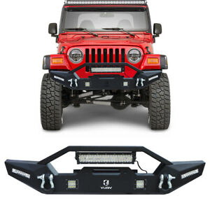 Texture Front Bumper With Winch Plate Led Lights For 97 06 Jeep Wrangler Tj