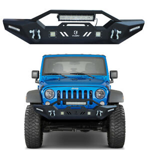 For 07 20 Jeep Wrangler Jk Jl Front Bumper With 5xled Lights And Winch Plate