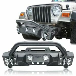 Front Bumper Textured Black W Winch Plate D Rings For 97 06 Jeep Wrangler Tj
