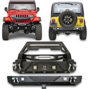 Front And Rear Bumper With Winch Plate D Rings Fit 87 06 Jeep Wrangler Tj Yj