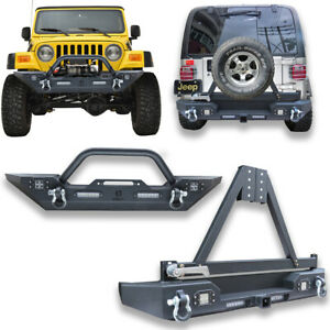Front Rear Bumper With Spare Tire Rack For Unlimited 87 06 Jeep Wrangler Tj yj