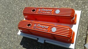 Mopar Performance Orange 383 400 440 Big Block Cast Aluminum Valve Covers Nos Bb