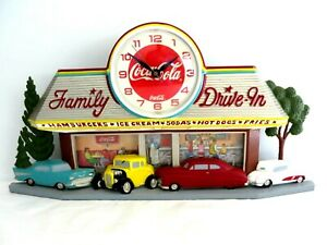 1988 Burwood Coca Cola Clock 3D Wall Hanging Drive-In Deuce Coupe Chevy #10139