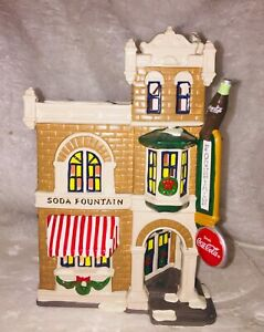 Dept 56 Snow Village Coca Cola Corner Drugstore 1995