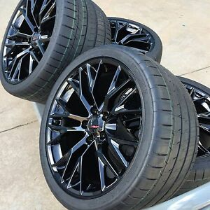 19 20 Staggered Oem Z06 Black Corvette Wheels Rims Michelin Tires Gm Set Pkg