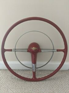 Original Vintage Chevrolet 1955 1956 Chevy Belair 18 Inch Red Steering Wheel