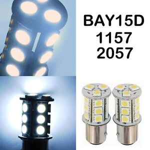 18 Led Car Auto Tail Rear Turn Brake Light Bulbs Lamp Bay15d 1157 2057 White