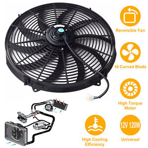 Universal 16 Inch Electric Radiator Cooling Fan 12v 3000cfm Relay Kit Thermostat