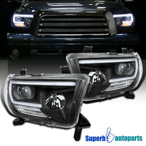 For 2007 2013 Toyota Tundra Sequoia Led Drl Tube Black Projector Headlights