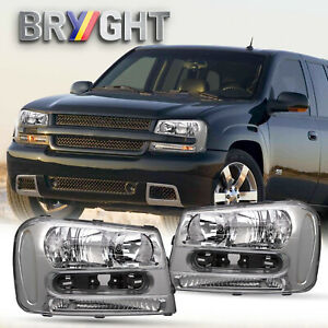 For 2002 2009 Chevy Trailblazer Chrome Housing Clear Corner Headlight Lamp Set