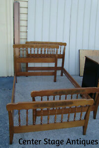 60904 Pair Maple Hitchcock Twin Size Beds W Rails