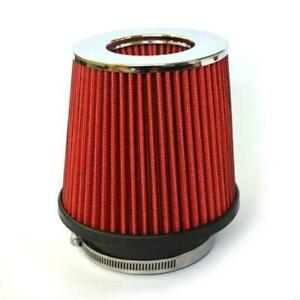 Red Universal 3 Car Air Filter Clean Intake High Flow Short Ram Cold Round Cone