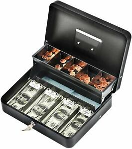 Black Steel Cash Box With Safe Key Lock Tiered Money Slots Portable And Compact
