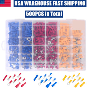 500pcs Assorted Crimp Terminals Insulated Electrical Wiring Connectors Kit