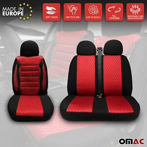2 1 Set Front Car Pickup Van Seat Cover Protection Fabric Black With Red