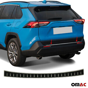 Carbon Foiled Plain Rear Bumper Guard Steel Protector Fits Toyota Rav4 2018 2020