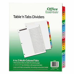 Table n Tabs Dividers 26 tab A To Z 11 X 8 5 White 1 Set 11677 11677 1