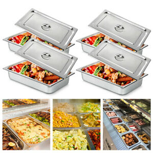 4 Pack 4 deep Full Size Stainless Steel Steam Table Pans W Lids Hotel Food Prep