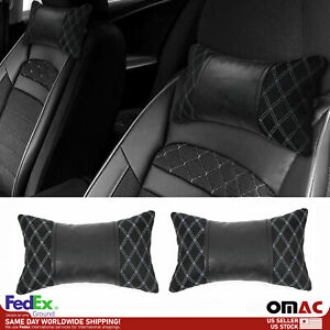 2x Car Seat Neck Pillow Head Shoulder Rest Pad Fabric And Black