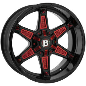 4 ballistic 827 Warrior 20x10 5x135 5x5 5 19mm Gloss Black Wheels Rims 20 Inch