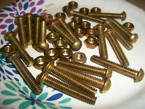 Vintage Lot Of 20 Slotted Round Head Brass Machine Bolts 1 4 X 20 X 1 1 2 Long