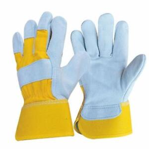 1 Pair Cowhide Leather Work Safety Gloves Welding Working Gloves Free Size New