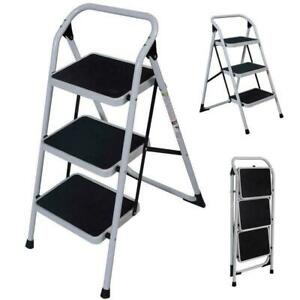 3 Step Portable Folding Ladder Non Slip Safety Tread Stepladder Commercial Home