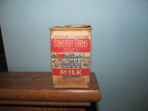 Flat top milk container Somerset Farms Dairy Middlebush  N.J. 1/2 pt sq flat top