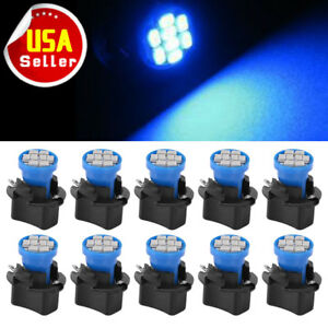 10x Blue T10 Led Bulbs Instrument Dashboard Gauge Light Package Twist Sockets