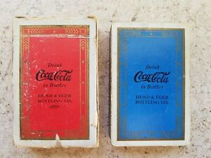 1930S BLUE WITH GOLD ARROW BORDER COCA-COLA ADVERTISING PLAYING CARDS - HTF!