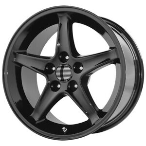 4 replica 102b Mustang Cobra R 17x9 4x108 18mm Gloss Black Wheels Rims 17 Inch