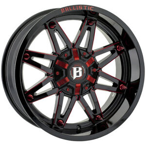 4 ballistic 963 Gladiator 20x10 6x135 6x5 5 19mm Black red Wheels Rims 20 Inch