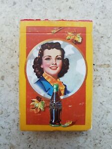 1943 WW2 ERA MINT COCA-COLA PLAYING CARDS DECK AUTUMN LEAVES!