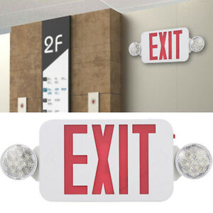 Red Exit Sign Leds With Emergency Light Adjustable 2 Head Backup Batterys X2f7