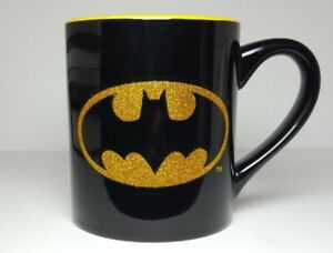DC Comics Batman Coffee Mug Cup 14oz Glitter Bat Signal Dark Knight Gotham Black