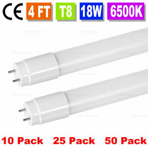 10 50 Pack 48 Inch 4ft 18w Led Fluorescent Tube Light Bulb T8 Fixture