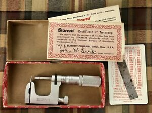 Starrett 220afl Anvil Micrometer W Screw Drill Chart In Original Box