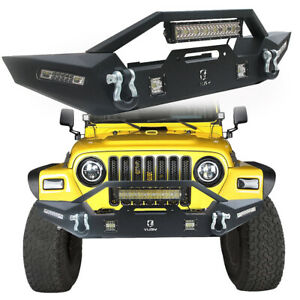Vijay Front Bumper With Winch Plate led Lights For 1987 2006 Jeep Wrangler Tj yj