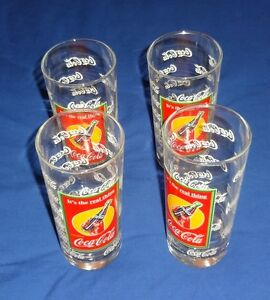 Anchor Set of 4 COCA COLA GLASSES WITH Decorative Tin